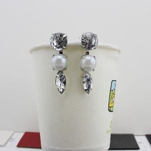 Jewelry - Sterling Silver Plated Pearl $ Crystal Earrings